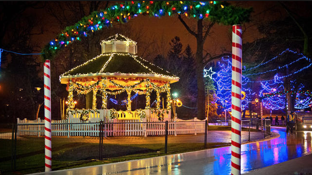 christmas lights in downtown park with gazebo