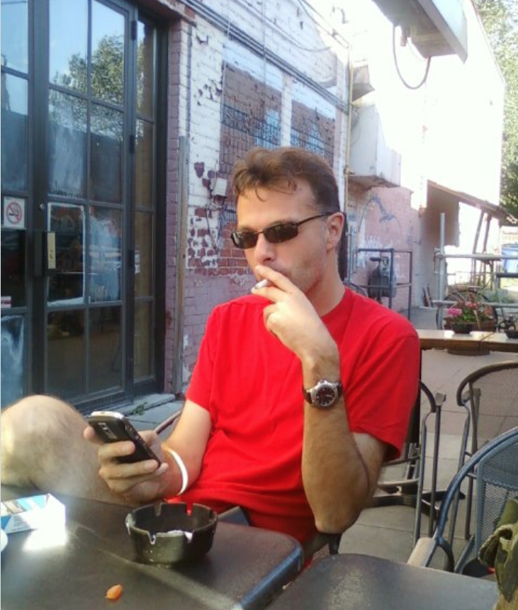 Matt Disero on a patio