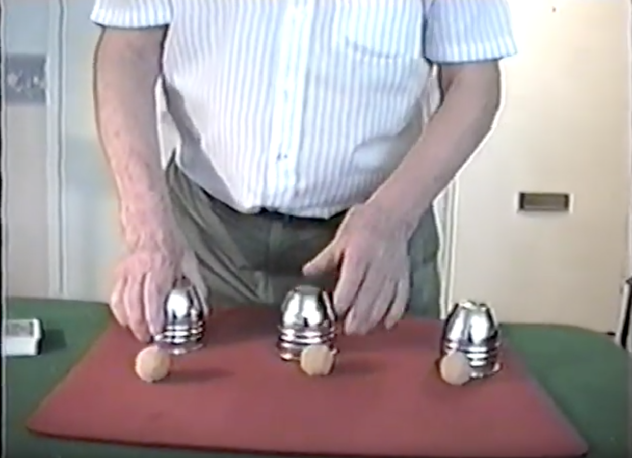 willis Kenny doing magical favourite the cups and balls
