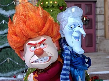 heat and snow miser from the rankin bass classic A year without a Santa Claus